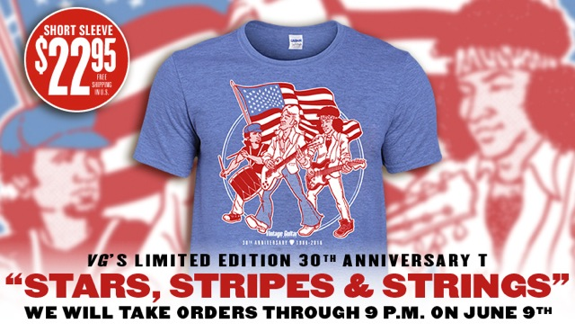 AVAILABLE FOR A LIMITED TIME, ORDER NOW! New VG Limited Edition 30th Anniversary 'Stars, Stripes & Strings' T-Shirt