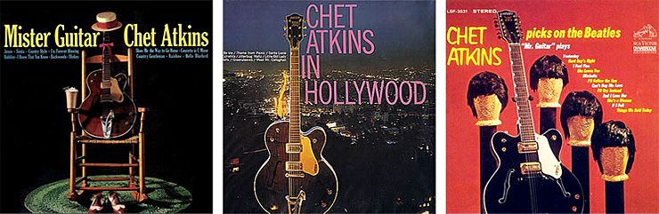Just three of the many Chet Atkins album covers that featured Gretsch guitars.