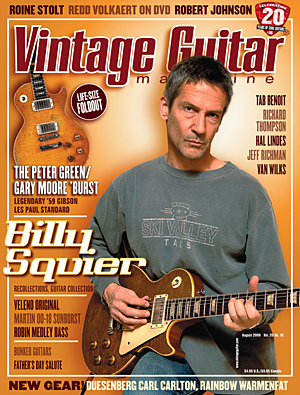 Vintage Guitar magazine Billy squire August 20016