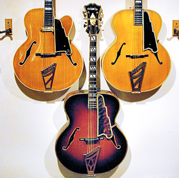 Jay Geils' guitar collection includes three D'Angelico (from left); a '52 single-cutaway Excel, '46 New Yorker in sunburst, and a '40 Excel.