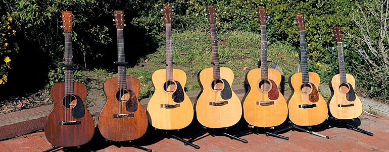 Sultan's collection includes prime vintage Martins like this (from left) '34 0-17, '36 00-17, '40 00-18, '43 000-18, '50 000-21, '37 0-18, and '49 5-18.