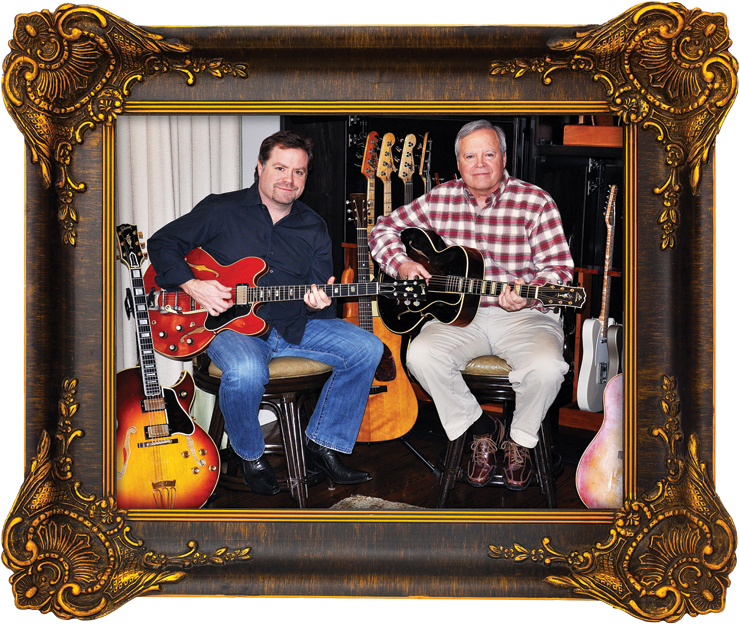 "Frank (left) and Buzz Rogers in the ""Pool House"" at Frank's home studio. Frank has his '63 Gibson ES-335, Buzz a '29 Gibson L-5. Photo: Benton Henry."