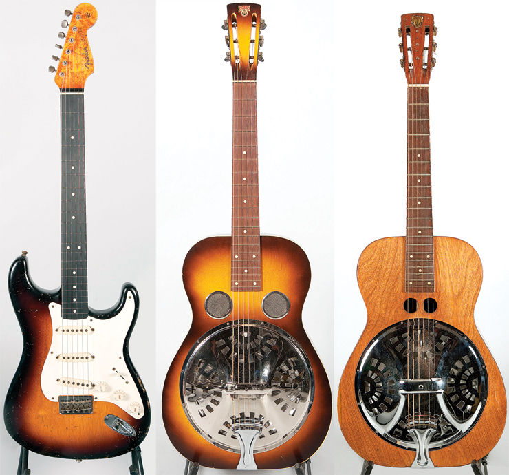"(LEFT TO RIGHT) This Fender Custom Shop square-neck Strat lap steel was built by Chris Femming and Donnie Wade. On Traveler, Douglas played a similar square-neck Telecaster made by Fred Stuart and ran it through a Marshall stack. ""It was like going to the amusement park!"" he says. This '36 Dobro Model 27 had been stored under a bed for decades. Douglas found it online and his wife bought it as a gift. Douglas calls this rare early-'30s Dobro double cyclops ""Sonnyboy."""