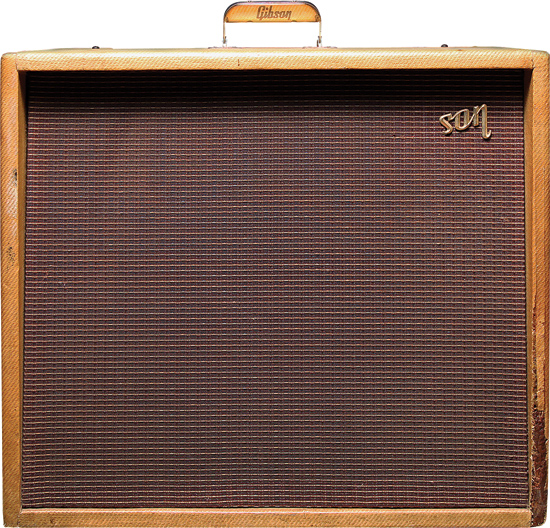 "Circa-1960 Gibson GA-80T Vari-Tone.  • Preamp tubes: two 12AX7, two 5879  • Output tubes: two 6L6 • Rectifier: GZ34 • Controls: Ch1: Volume, Tone; Ch2: Volume, Tone, six Vari-Tone Selector pushbuttons, tremolo Depth and Frequency • Speakers: one 15"" Jensen P15P alnico speaker • Output: approximately 25 watts RMS Photos: Ricky Sanchez, amp courtesy of Eliot Michael."