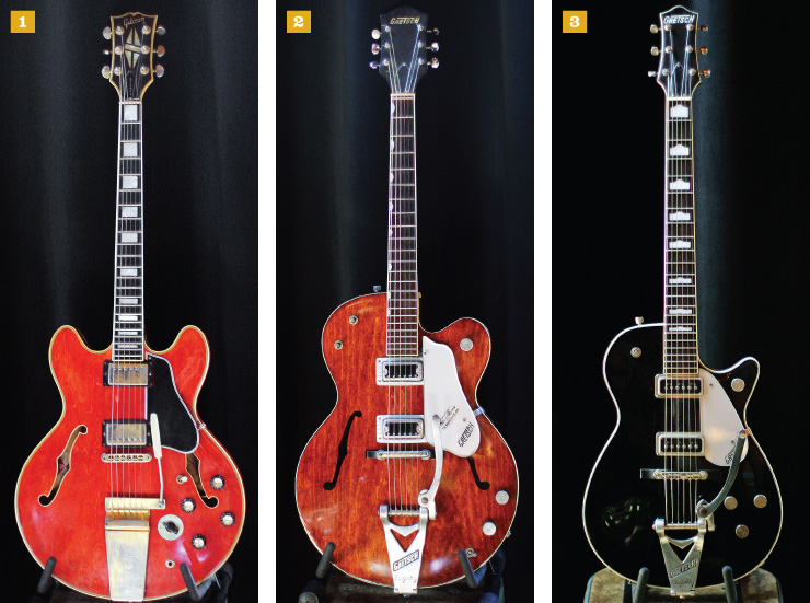 "1) ""Unfaded cherry!"" Wilson says of this early-'70s Gibson ES-355, courtesy of his father. ""It has a microphonic bridge pickup that just howls. My dad removed the Varitone, making the guitar about six pounds lighter."" 2) This '62 Gretsch Chet Atkins Tennessean was the first vintage guitar Wilson bought – he was 13 at the time. ""It's stock, untouched, and I still use it,"" he said. 3) ""I ordered this after seeing George Harrison with one on the cover of Cloud Nine,"" Wilson said of his Gretsch Duo Jet. ""Early-'90s Gretsch reissues are wonderful; the DeArmond pickups are outstanding – some of the best clean tones I've ever heard."""