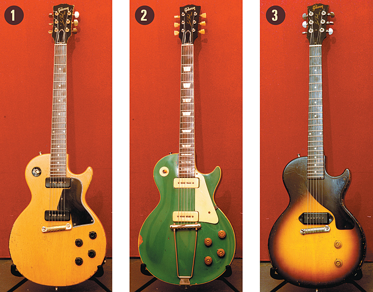 Billy squire 1956 Gibson Les Paul Special in TV finish. 1952 Gibson Les Paul, refinished before being purchased by Squier. 1956 Gibson Les Paul Junior. Vintage Guitar magazine