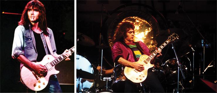 (LEFT) Stocker with a natural-finish Les Paul. (RIGHT) Stocker in '79 with the Les Paul Anniversary model he acquired directly from Gibson in '78 with a flame-maple top. Photo: Vernon Marks, courtesy of Mark V. Perkins.