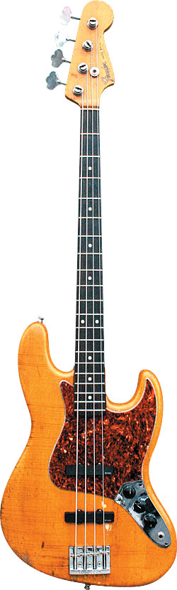 "Bruce Hall's 1965 Fender Jazz Bass, ""Butter,"" bears serial number L89613"