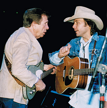 "Buck Owens at his first ""comback"" concert, at the Bakersfield Convention Center in 1987. This show marked the first time Dwight Yoakam featured Owens as his guest."