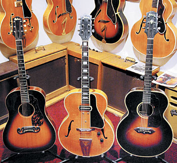 "The ""stairstep headstock"" Gibsons in Jay Geils' collection include this 1939/'40 J-55, 1940 ES-250, and '39/'40 J-100."