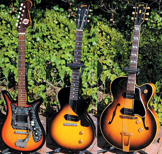 "Early-'70s Teisco Del Rey. Sultan calls this '58 Gibson Les Paul Junior ""Pauly."" '50 Gibson ES-350"