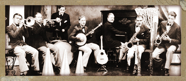 A 14-year-old Bauer (center) in 1929 playing banjo with Johnny Lane and the Rainbow Club Orchestra. Other members of the band included (from left) Johnny Lane, Henry Rush, and Ed Meyer.