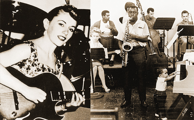 "Kaye was already an accomplished jazz guitarist when this photo was taken in 1955.  She's brandishing her Gibson ES-175. Ca. 1959; a jazz recording session with the H.B. Barnum Orchestra.  In addition to Kaye on guitar (left), participants included Hal Blaine on drums, Lauder on congas, Dick Lieth on trombone, and ""Little H"" on piano. Carol Kay,  Vintage Guitar magazine"