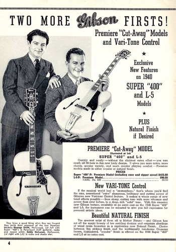 George Smith and Eddie Skrivanek in the 1940 Gibson catalog, debuting the Super 400 Premiere and L-5 Premiere.