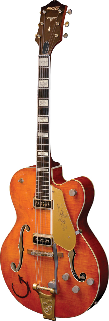Possessing pot codes dated April of 1954, serial number 13767 is the earliest documented Gretsch 6120. The pickguard is an accurate reproduction of the original.  6120 SN13767: Curt Wilson. Guitar courtesy of Fred Stucky.