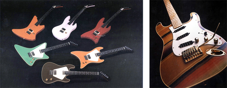 "(LEFT) The lineup of Hendrick models included, front to back, left to right: Transformer Standard (Brown), Generator Standard (Green) Catalyst Standard (Orange), Generator Curved (Orange), Transformer Curved (Pink), Catalyst Curved (Red). (RIGHT) The Schecter ""serape""guitar, topped with piece of Mexican garment. All photos courtesy of Kurt Hendrick."
