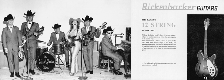 """LEFT  Las Vegas C/W lounge singer Suzi Arden in 1960 with the prototype 360/12 Deluxe.  RIGHT  A 1966 Rose, Morris catalog featuring the Model 1993 12-string, which boasts, """"Without a doubt the world's finest 12-string, acknowledged by leading players as being the easiest guitar of its kind to play."""""""