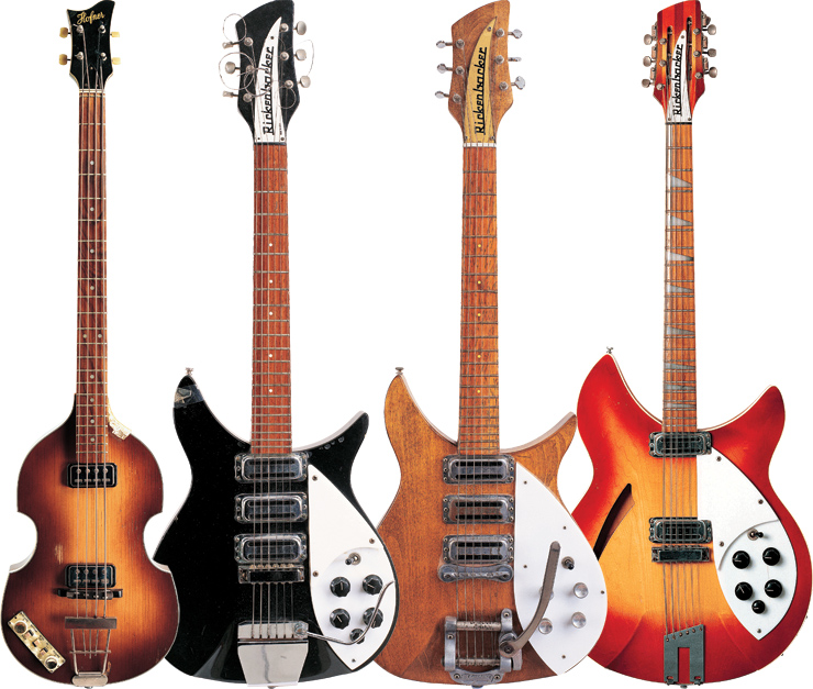 "(LEFT TO RIGHT) Paul McCartney's '63 Höfner 500/1. John Lennon played this '58 Rickenbacker 325 during The Beatles' first ""The Ed Sullivan Show"" appearance. In the '70s, Lennon had the black finish stripped and the gold pickguard was replaced with a white one. John Lennon's '64 Rickenbacker 325 was shipped directly to him in Miami while the band prepared for its second appearance on ""The Ed Sullivan Show."" George Harrison's '63 Rickenbacker 360/12."