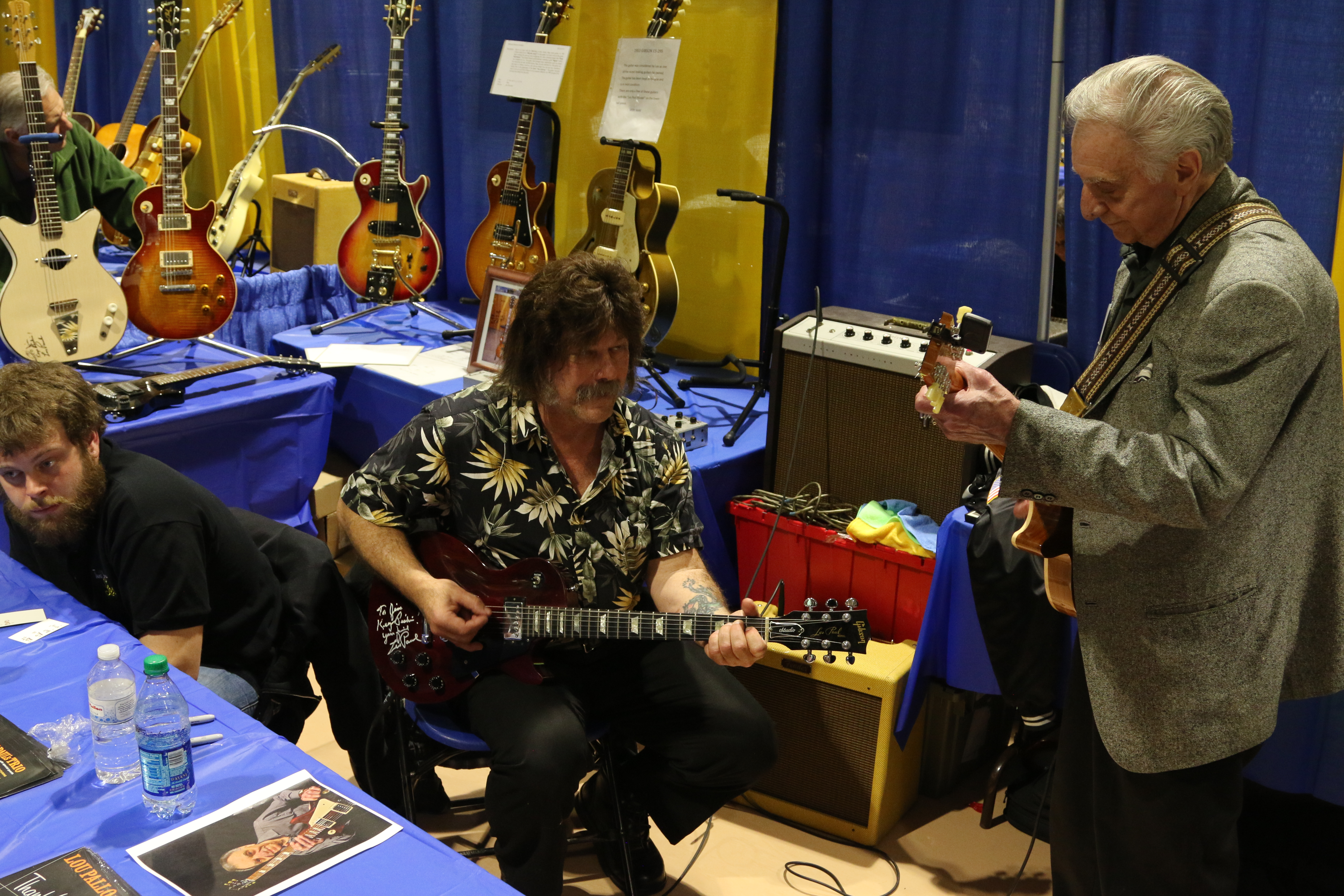Lou Pallo James with a Vietnam vet at the 4th NY Guitar Expo this past April.
