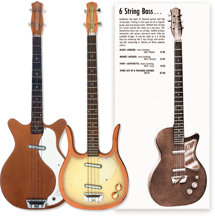 (LEFT) The 3412 Short Horn was Danelectro's first four-string bass. (MIDDLE) The 4423 Long Horn. Note the concentric Volume and Tone controls with pointer-style top knob. (RIGHT) This 1958 Danelectro catalog excerpt shows the company's first bass. 3412 image courtesy of Mike Gutierrez. 4423 Long Horn: Rick Malkin.