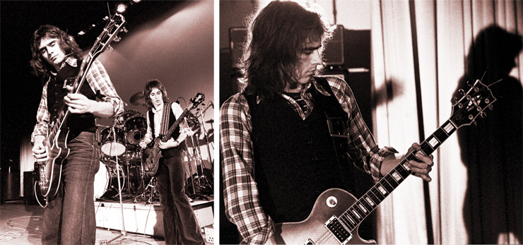 (LEFT) Stocker and Babys bassist/vocalist John Waite onstage in 1976; Stocker is playing his Les Paul Custom, Waite a Zemaitis bass. (RIGHT) Stocker in '76. Photo: Brian Cooke, courtesy of Mark V. Perkins.