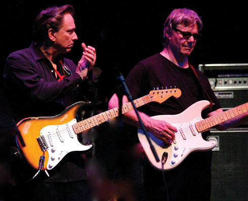 Miller onstage with Jimmie Vaughan. 