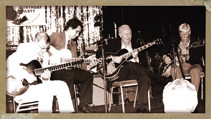 Bauer (right) in the mid '90s with Bucky Pizzarelli, Howard Alden, and Herb Ellis at a birthday party for jazz sax/clarinet player Flip Phillips.