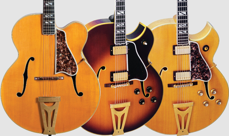 (LEFT TO RIGHT) 1940 Super 400 PN. A '68 Gibson Super 400CES with Florentine cutaway. A '62 Gibson Super 400CES in natural finish with Florentine cutaway. '40 Super 400 PN, '68 Gibson Super 400 CES Florentine, '62 Gibson Super 400 CES Florentine: George Gruhn.