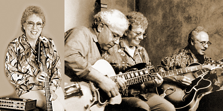 From left, Mitch Holder, Kaye, and John Pisano dig into the groove in 1998. Carol Kay,  Vintage Guitar magazine