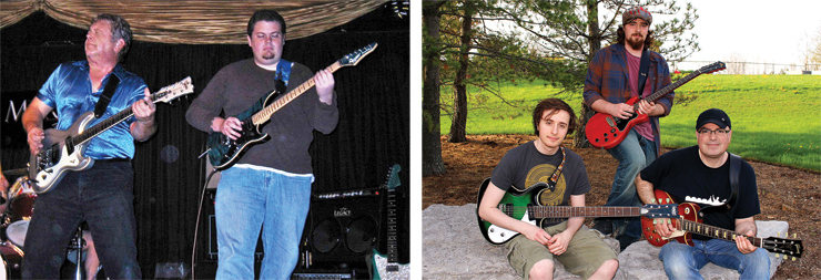 (LEFT) Here are Vincent Motel and his son, Andrew, jamming onstage. Vince is playing a Wilson Brothers VM75 while Andrew has a Vigier Excalibur. (RIGHT) Lee Helperin, with a 2003 Gibson Custom Shop reissue Les Paul with Brazilian fretboard, enjoys quality music time with sons Max (playing a 2013 LsL Topanga model) and Alex (playing a 2013 Eastwood Sidejack Baritone DLX). The picture was taken by Lee's wife (and the boys' mom), Judy, on a Mother's Day in Ontario.