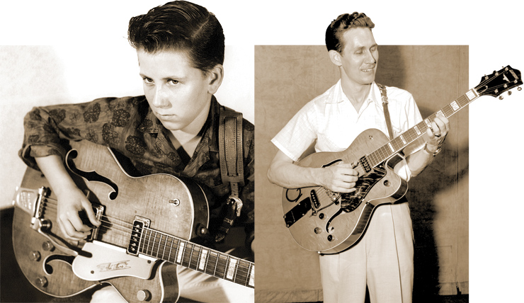 "(LEFT) A young Bobby Cochran with his Gretsch 6120 (serial number 13767) – just like his Uncle Eddie's. (RIGHT) Chet Atkins with his Gretsch ""Streamliner Special"" prototype (serial number 13753), already experimenting with a vibrato tailpiece at the Grand 'Ol Opry in August of 1954. Bobby Cochran photo courtesy of Bobby Cochran. Chet Atkins with Streamliner Specail: Gordon Gillingham/courtesy of the Grand Ole Opry Archives."