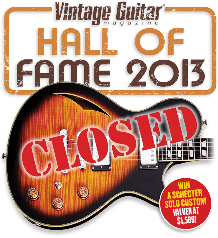 Vintage Guitar magazine Hall of Fame 2013