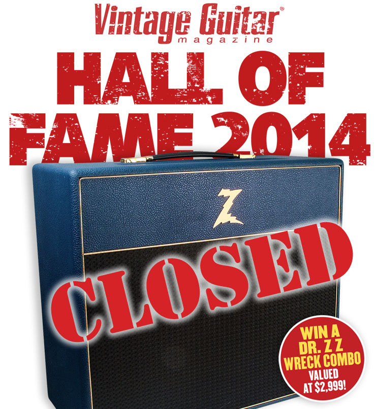 Vintage Guitar magazine Hall of Fame 2014