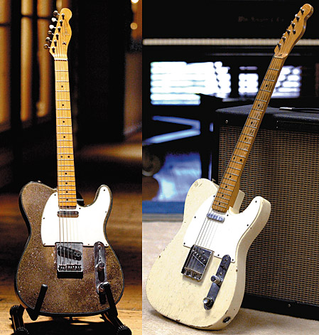 Buck's Telecaster with custom crushed mirror-gold finish and a '50s Fender Telecaster.