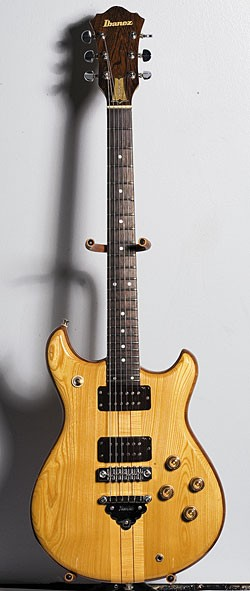 Circa '79 M Ibanez usician MC200 in Natural finish with neck-through construction, Super 88 humbucking pickups, and half bone/half brass nut.