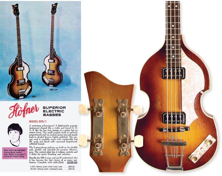 "(LEFT) The 1965 Sorkin/Höfner catalog – $335 for us Yanks! (RIGHT) An extremely rare right-handed Höfner 500/1 with features identical to McCartney's and likely made in the same period – mid/late '63 – perhaps even the same batch. And a ""Mac-spec"" two-piece neck with strip tuners."
