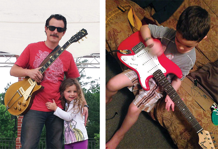 "(LEFT) D.L. Peterson and his daughter, Scout, are avid readers (or, in Scout's case, avid picture viewer) of VG.  Here they are with D.L.'s ""other baby,"" his all-original '53 Gibson Les Paul. (RIGHT) Ryan McCaffrey's four-year-old son, Beckett, with his first ""real"" guitar, ""Rocking out some Clapton,"" his dad says with a chuckle."