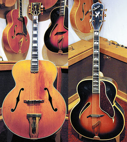 '39 Gibson L-5. '51 Gretsch Synchromatic.