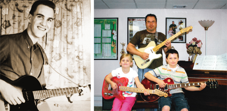 """(LEFT) Todd Rooker sent this shot of his dad, Dale, when he was 16 and obviously proud of his new '61 Gibson ES-125TC.""""He still has it, and it's in amazingly good condition,"""" Todd said. """"He has spawned two more generations of Rooker guitar players, as both my 14-year-old son, Nicholas, and I have picked up playing and building guitars. Dad lives 1,800 miles away, but we still get together a couple times a year and play as a family."""" (RIGHT) The McLaughlin family sent this shot, starring Erin (left) with her Fender Telecaster in Pink Paisley, dad (Andy) with a Fender Custom Shop '55 Telecaster, and Ian with his Gibson Les Paul."""