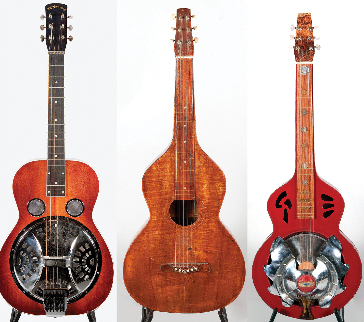 "(LEFT TO RIGHT) This Ivan Guernsey resonator is fitted with a Guernsey's Hipshot tailpiece that works like a B-bender on multiple strings. Douglas found this 1919 Weissenborn being used as a planter at his in-laws' home. ""They're works of folk art, but this guitar actually sounds amazing,"" Douglas said of this Larry Pogreba custom, which has a resonator cover fashioned from a vintage Chevy hubcap and inlays from an Elvis medallion and other old coins (RIGHT). ""It's hollow all the way up to the nut, like a Weissenborn."" It's the first thing listeners hear on Traveler and it is used extensively throughout the album."