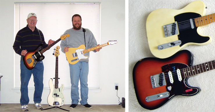 "(LEFT) George Stanford and his son, Geoff, are Fender fans. Here's George (left) with his '64 Jaguar, while Geoff holds his Custom Shop '68 Tele reissue.  Between them is an American Standard Precision Bass. (RIGHT) Jim McMillan sent this shot of the family's Fender Telecasters belonging to him and his son. ""His is with him in New York, but on top is my mostly-'68 and the bottom is his '97 Nashville Tele. I bought his along with an '81 Deluxe Reverb amp on Mother's Day in 2002. He asked me if the amp was his, too... Guess I'm a bad dad!"""