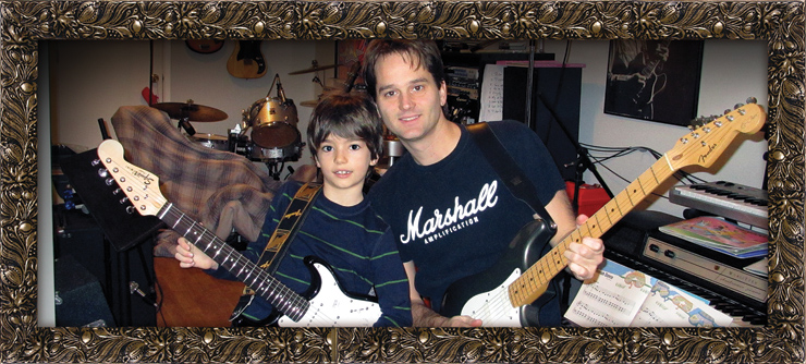Here are Dominic Harris and his son, Keith Richard Harris, who is named for his dad's favorite Rolling Stone… even if Keith's favorite band is currently The Beatles.