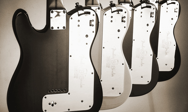 Fender's version of the B bender requires the guitar's back to sport a metal plate.