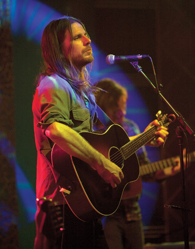 """With the Trance Audio Amulet pickup, this changed the game for me in a concert setting,"" Wilson said of the Gibson Jackson Browne Signature model. ""The guitar is tremendous; all sustainable woods, 12-fret extra-thick Jumbo, modeled after the Roy Smeck Gibsons of the '30s. I'd never been a believer in a new acoustic guitar until this one."""