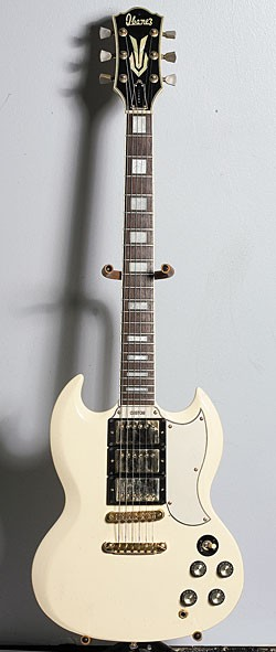 Mid-'70s Ibanez Model 2345 in Ivory finish with removed vibrola and tailpiece.