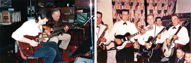 "(LEFT) Sam T. Floyd sent this picture of him and my dad, Sam Floyd, Sr. at a Christmas gathering in the late '90s. ""I'm playing a '96 PRS Custom 24 and Pop is playing his '61 Gibson ES-335 that he ordered the day I was born. Dad taught guitar for over 50 years and passed away in 2006."" (RIGHT) Jim Patterson sent this picture of his father's band, taken in 1963. ""My father, George, is on the far right with his '61 Gretsch 6118 in Smoke Green,"" he said. ""I'm the 16-year-old in the back, on my Rogers drum kit. Just three years later, he passed. I still play his guitar and his Gretsch Chet Atkins amp."""