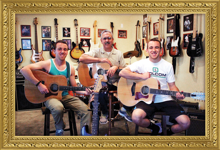 Art Martinez (center) enjoys sharing the love of music with his twin boys, Blake (left, with Taylor 410ce)and Taylor (right, with Taylor 655ce).Art, who has a Taylor K10ce here, also loves playing his Fender and Epiphone guitars, mandolins, and basses.His wife, Donna, and their boys are also members of their church worship team.