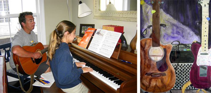 """""""My daughters don't play guitar, but my youngest, Evelyn, who is 12, is a greatpiano player,"""" Chris Elswick tells us. """"Here I am on my early-'80s Sigma, trying to keep up. Her sister, Olivia, age 21, is a writer and a painter; she painted a portrait of my 2004 Telecaster and my '06 Alvarez."""""""