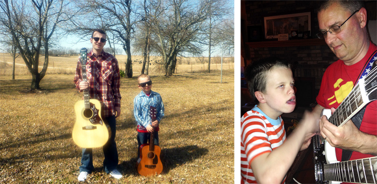 "(LEFT) Here are Dusty Murphy and his eight-year-old son, Poncho, with their acoustics. (RIGHT) Karl Maurer sent this pic and says, ""In spite of many medical challenges, my 11-year-old son, Dom, loves to play blues and rock guitar with a bit of his dad's help."" Karl keeps the top neck on his Epiphone ES-1275 tuned to open G. ""Being Dom's dad rocks!"" he adds."