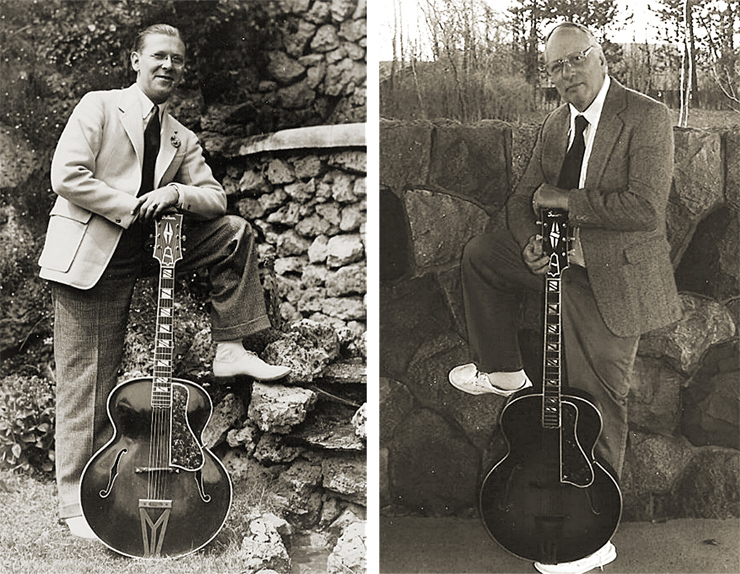 """Here's a shot of my dad with his then-new 1934 Gibson Super 400,"" Terry Collins tells us. ""And that's me on the right, 80 years later, holding the very same guitar."""